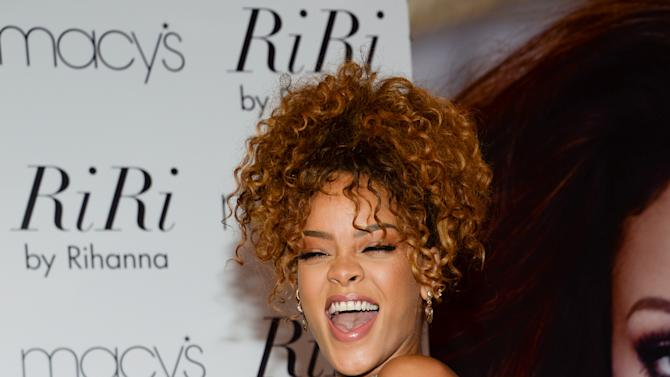 "Singer Rihanna attends the ""RiRi by Rihanna"" fragrance launch at Macy's on Monday, Aug. 31, 2015, in the borough of Brooklyn, N.Y. (Photo by Evan Agostini/Invision/AP)"