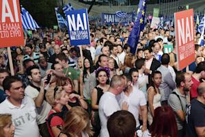 Pro-Europe supporters gather in front of Panathenian …