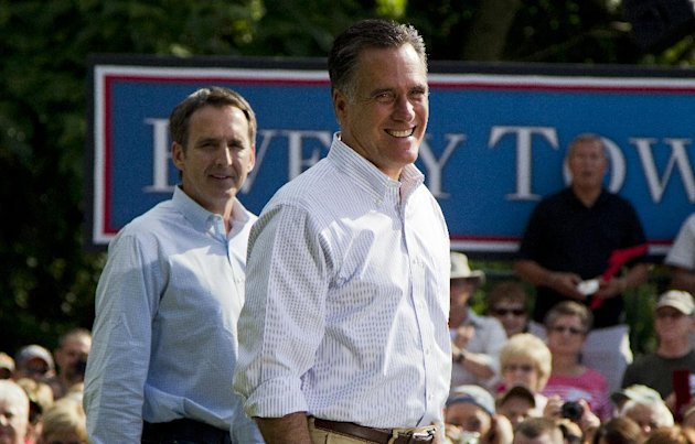 In this June 16, 2012, photo, former Minnesota Gov. Tim Pawlenty, left, stands with Republican presidential candidate, former Massachusetts Gov. Mitt Romney during a campaign stop at campaign stop at Cornwall Iron Furnace in Cornwall, Penn. President Barack Obama and his Democratic allies aren&#39;t waiting for Romney to reveal his vice presidential choice. They&#39;re already trying to scuff up those considered by political insiders to be most likely to join the GOP ticket. The presidents campaign started swinging at the potential Republican running mates, including Pawlenty, this week while urging home-state Democrats to chime in about the shortcomings (AP Photo/Evan Vucci)