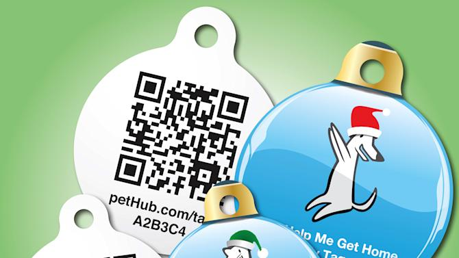 This undated image provided by PetHub shows a PetHub dog tag.  If your dog gets lost, anyone can scan this tag on a cell phone using a QR (quick response) scanning app and immediately get access to the dog owner's name, address and phone number. Or if you don't have a phone, you can call a 24/7 number and report the found dog. A holiday present for Fido or Fluffy used to be an extra table scrap or a new squeeze toy. But as with gifts for their human counterparts, pet presents are becoming increasingly high-tech. (AP Photo/PetHub, Brian Seales)