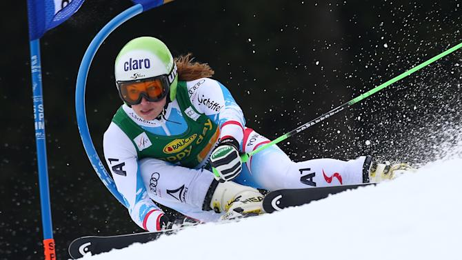 Anna Fenninger, of Austria, competes during the first run of an alpine ski, women's World Cup giant slalom, in Ofterschwang , Germany, Saturday, March 9, 2013. (AP Photo/Giovanni Auletta)