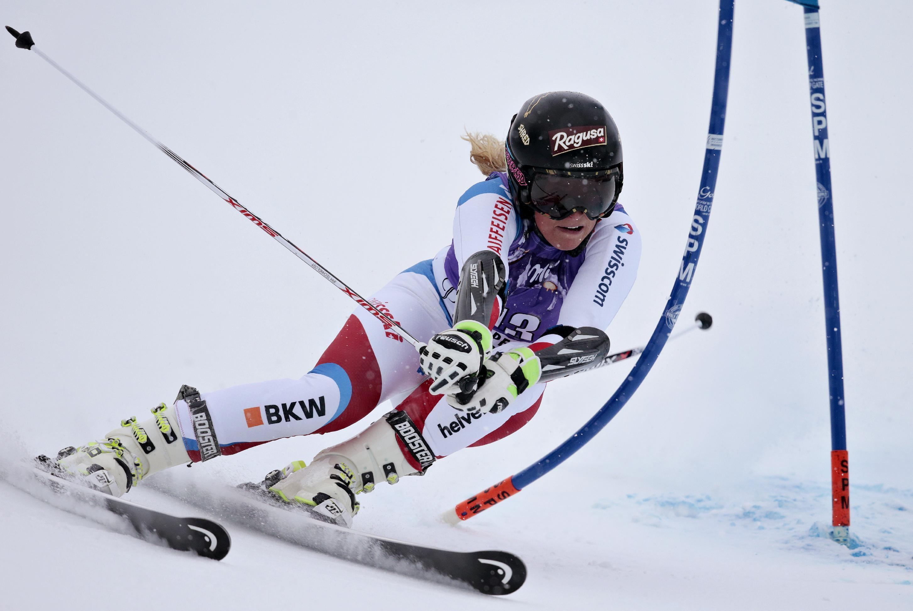 Gut wins giant slalom as Shiffrin crashes near finish