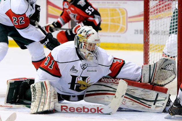 Zachary Fucale #31 of the Halifax Mooseheads gets down to stop the puck during a QMJHL game