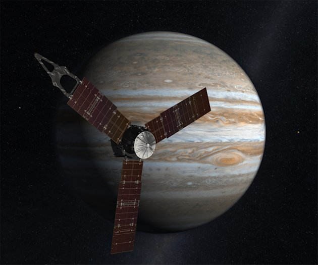 This undated image released by NASA shows an artist rendering of the Juno spacecraft circling Jupiter. The spacecraft planned to fire its engine on Aug. 30, 2012, the first of two engine burns to set