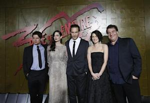 "Director of the movie Murro poses with cast members O'Connell, Green, Mulvey and Headey at the premiere of ""300: Rise of an Empire"" in Hollywood"