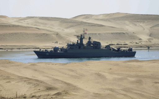 FILE - In this Feb. 22, 2011 file photo, the Iranian navy frigate IS Alvand passes through the Suez Canal at Ismailia, Egypt. The frigate, accompanied by the replenishment ship IS Kharg, entered the Suez Canal en route to Syria, officials said, the first time in three decades that Tehran has sent military ships through the strategic waterway. A month later, Egypt's new foreign minister, Nabil Elaraby, declared that