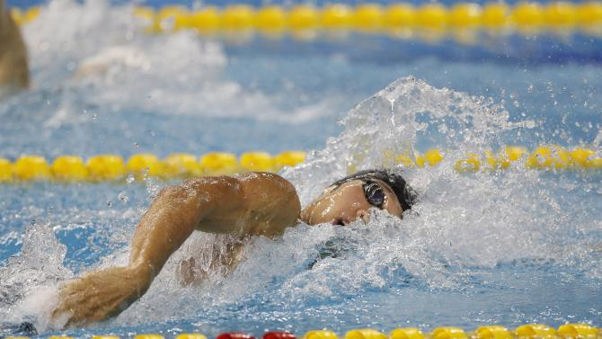 Japan's Hagino competes in the men's 200m freestyle final swimming competition during the 17th Asian Games in Incheon