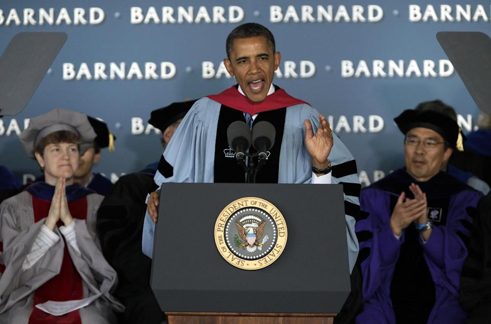President Barack Obama delivers the commencement address to graduates at all-female Barnard College, on the campus of Columbia University, in New York,  Monday, May 14, 2012. Barnard was the first college in New York City where women could receive the same liberal arts education available to men. (AP Photo/Richard Drew)