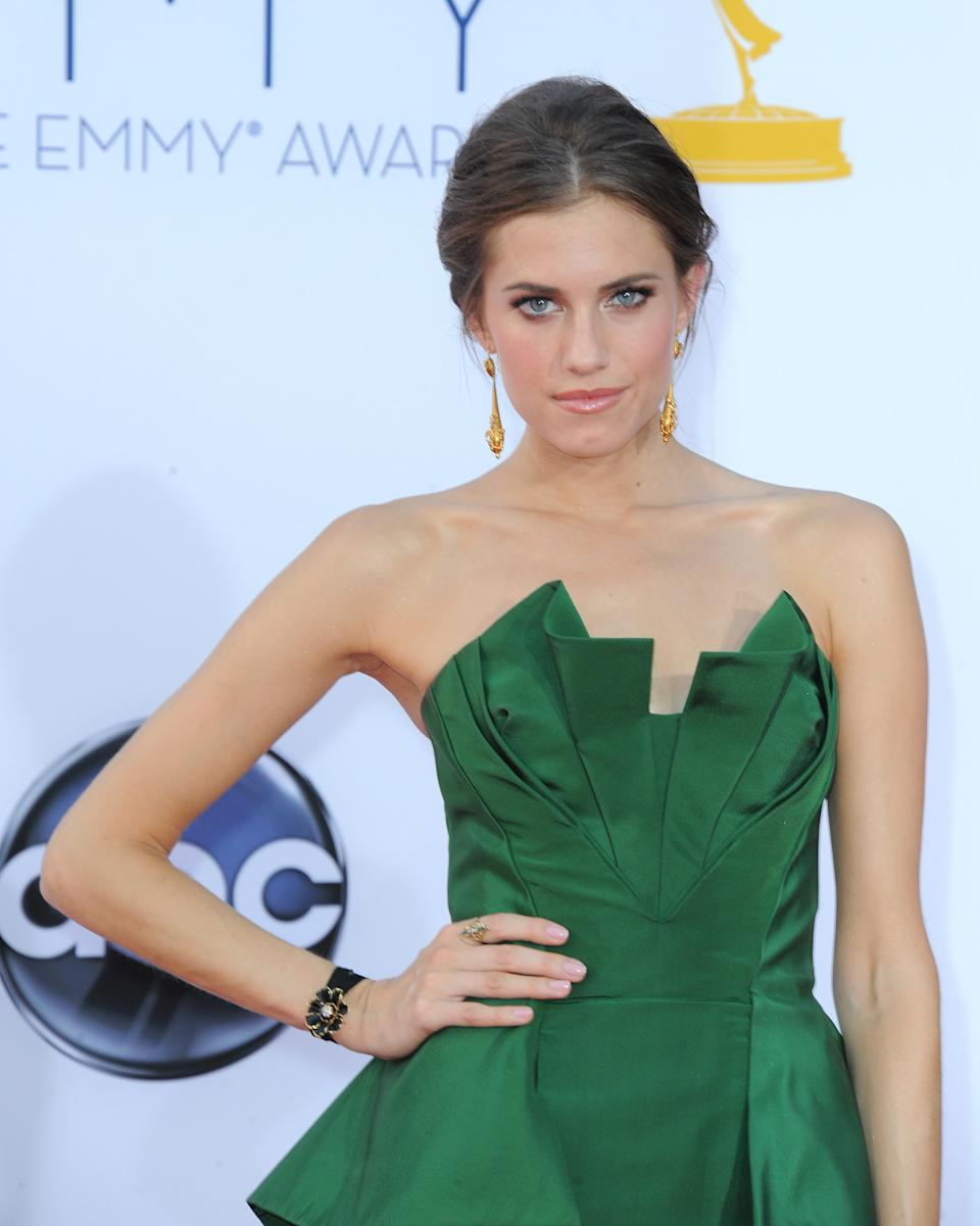 Actress Allison Williams arrives at the 64th Primetime Emmy Awards at the Nokia Theatre on Sunday, Sept. 23, 2012, in Los Angeles.  (Photo by Jordan Strauss/Invision/AP)