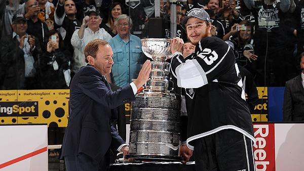 Gary Bettman and Los Angeles Kings captain Dustin Brown with the Stanley Cup