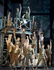 In this theater image released by Disney Theatrical Productions, the cast is shown from the musical &quot;Newsies.&quot; The production was nominated for a Tony Award for best musical, Tuesday, May 1, 2012. The Tony Awards will be held on June 10 and broadcast live on CBS. (AP Photo/Disney Theatrical Productions, T Charles Erickson)