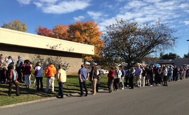 Voters line up at the Downtown West location in Knoxville, Tenn., to cast their early voting ballot on Thursday, Nov. 1, 2012. Early voting in Tennessee ends on Thursday with the general election occurring on Tuesday, Nov. 7, 2012. (AP Photo/Knoxville News Sentinel, Bruce Carillon)