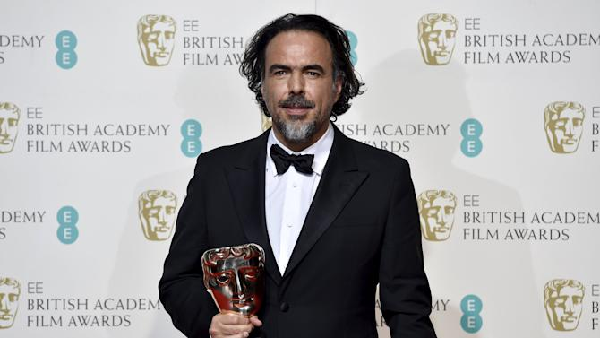 Best director Alejandro Inarritu holds his award at the British Academy of Film and Television Arts (BAFTA) Awards at the Royal Opera House in London