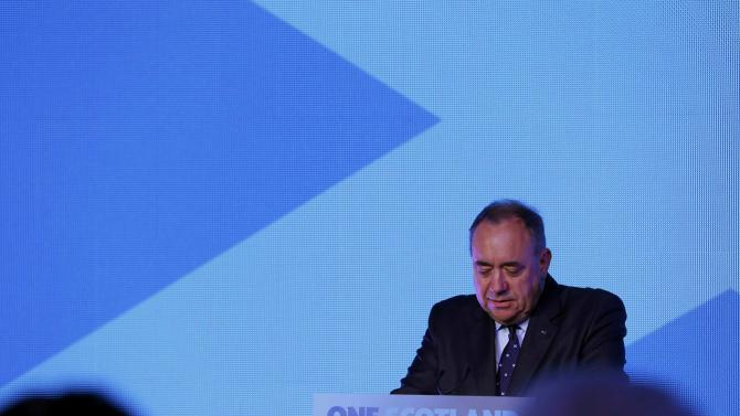 """Scotland's First Minister Alex Salmond speaks at the """"Yes"""" Campaign headquarters in Edinburgh, Scotland"""