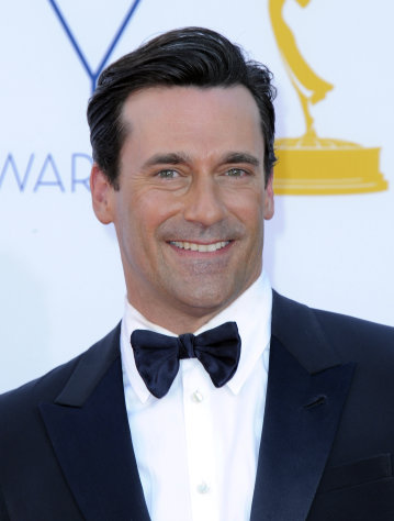 Actor Jon Hamm arrives at the 64th Primetime Emmy Awards at the Nokia Theatre on Sunday, Sept. 23, 2012, in Los Angeles. (Photo by Jordan Strauss/Invision/AP)