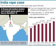 A graphic on the fatal gang rape of a 23-year-old student in New Delhi in India and statistics on rape incidents in the country. Five men have gone on trial over the fatal gang-rape of student on a bus in Delhi as the victim's father urged the special fast-track court to deliver swift justice and sentence her attackers to hang