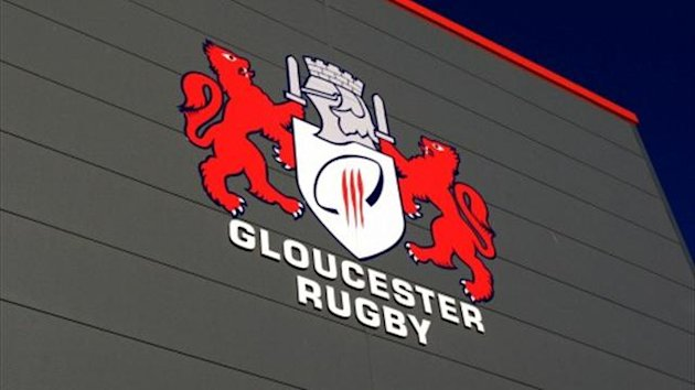 The Gloucester Rugby badge on dislpay outside the stadium