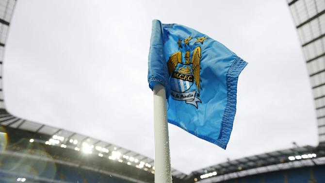File photograph showing a corner flag at Manchester City Football Club in Manchester