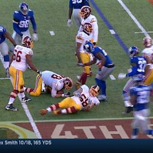 Washington Redskins quarterback Robert Griffin III sacked and fumbles