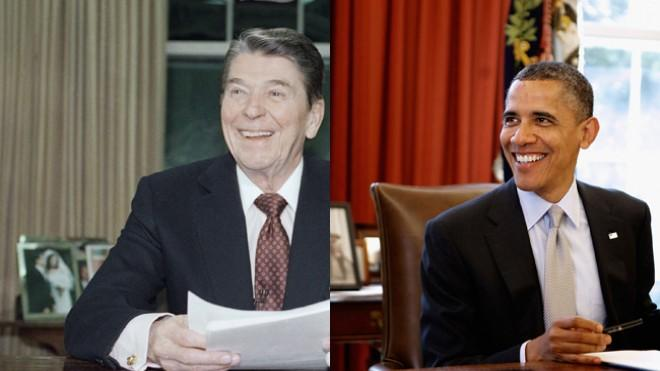 """Although President Obama wouldn't exactly call Reagan a role model, he has called him a """"transformational president."""""""