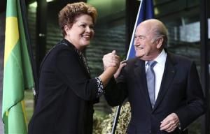 Brazil's President Rousseff greets FIFA President Blatter during a visit at the FIFA headquarters in Zurich