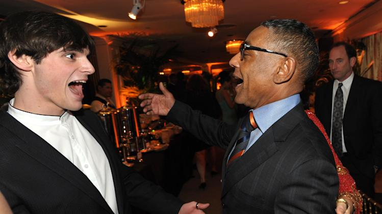 IMAGE DISTRIBUTED FOR AMC - RJ Mitte, left, and Giancarlo Esposito attend the AMC Golden Globes Party on Sunday, Jan. 13, 2013 in Beverly Hills, Calif. (Photo by John Shearer/Invision for AMC/AP Images)