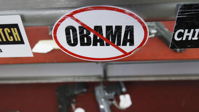 A sticker is seen at the Rocky Mountain Guns and Ammo store in Parker, Colorado