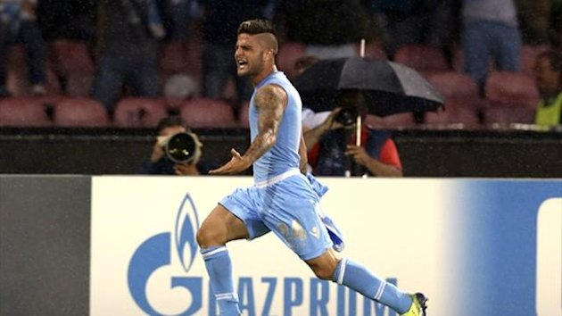 Napoli's Lorenzo Insigne celebrates after scoring against Borussia Dortmund (Reuters)