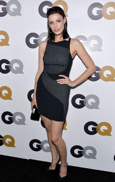 "Jessica Pare: The Canadian ""Mad Men"" star wears a simple little black dress with a fun mini polka-dot print. We think her TV husband Don Draper would approve. (Photo by Alberto E. Rodriguez/Getty Images)"