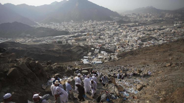 Muslim pilgrims ascend Mount Al-Noor ahead of the annual haj pilgrimage in Mecca