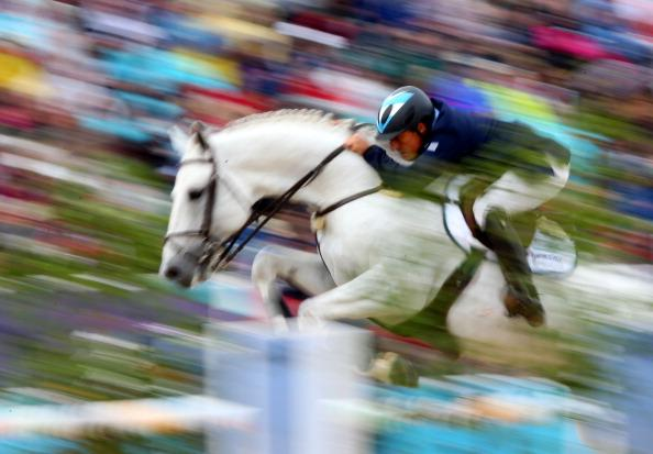 Alejandro Madorno of Argentina riding Milano de Flore competes in the 1st Qualifier of Individual Jumping on Day 8 of the London 2012 Olympic Games at Greenwich Park on August 4, 2012 in London, Engla