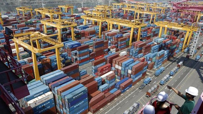 People look at Hanjin Shipping's container terminal at the Busan New Port in Busan
