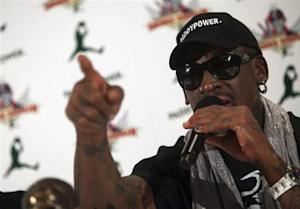 Former NBA basketball player Dennis Rodman speaks at a news conference in New York