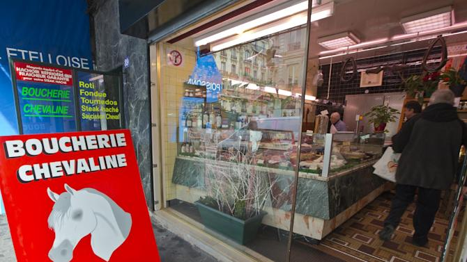 The outside of a butchers where horsemeat is available, in Paris, Friday Feb.  15, 2013.  Tests have found horsemeat in school meals, hospital food and restaurant dishes in Britain, officials said Friday, as the scandal over adulterated meat spread beyond frozen supermarket products. French French Consumer Affairs Minister Benoit Hamon said Thursday that it appeared fraudulent meat sales over several months reached across 13 countries and 28 companies. He identified French meat wholesaler Spanghero as a major culprit. (AP Photo/Jacques Brinon)