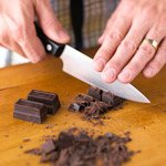 Chopping chocolate for brownies