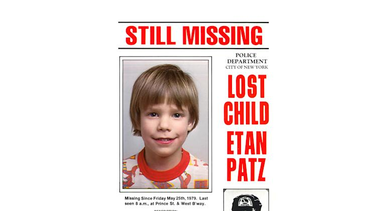 This undated file image provided Friday, May 28, 2010 by Stanley K. Patz shows a flyer distributed by the New York Police Department of Patz's son Etan who vanished in New York on May 25, 1979. New York City police commissioner Raymond Kelly said Thursday  May 24, 2012, that a person who's in custody has implicated himself in the disappearance and death of Etan Patz, (AP Photo/Courtesy NYPD/file)  EDITORIAL USE ONLY, NO SALES, FOR USE ONLY IN ILLUSTRATING EDITORIAL STORIES REGARDING THE DISAPPEARANCE OF ETAN PATZ OR OTHER MISSING CHILDREN