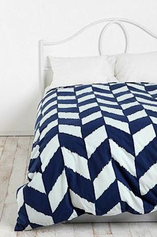 Blue Herringbone Duvet