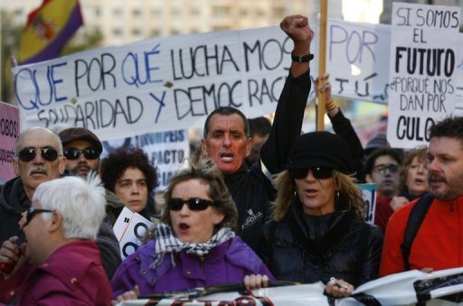 <p>An anti-austerity demonstration in Madrid on Saturday. Spain's economy wilted in the third quarter of 2011, official data showed Tuesday, as the government imposed a harsh austerity programme in the midst of a deep recession.</p>