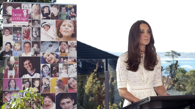 Catherine, Britain's Duchess of Cambridge, delivers a speech at Bear Cottage Hospice in Manly in Sydney