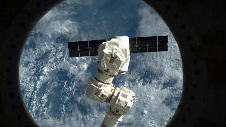 This NASA image shows the SpaceX capsule Dragon about to be captured by the Canada Arm at the the International Space Staion on March 3, 2013