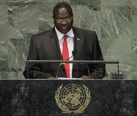 South Sudan's Vice-President Machar addresses the 67th United Nations General Assembly at the U.N. Headquarters in New York