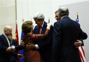US Secretary of State Kerry hugs European Union foreign …