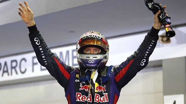 Sebastian Vettel celebrates his Singapore GP victory (Reuters)