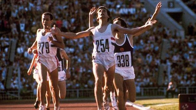 Seb Coe beats rival Steve Ovett in the 1980 1500m final