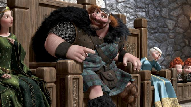 "This film image released by Disney/Pixar shows characters, from left, Queen Elinor, King Fergus, Merida, and triplets Harris, Hubert and Hamish in a scene from ""Brave."" (AP Photo/Disney/Pixar)"