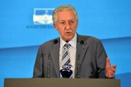 Fotis Kouvelis -- the leader of the Democratic Left party -- gives a press conference at the Greek Parliament in Athens. Conservative leader Antonis Samaras has been sworn in as the prime minister of new Greek coalition, taking up the challenge of trying to revise the terms an unpopular EU-IMF bailout deal