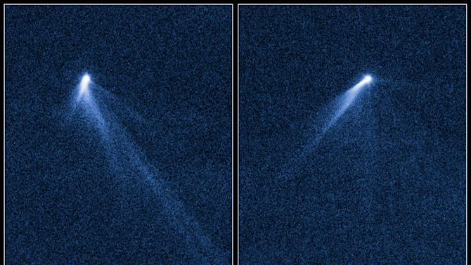 This combination of Sept. 10 and 23, 2013 photos provided by NASA shows six comet-like tails radiating from a body in the asteroid belt, designated P/2013 P5. The Hubble Space Telescope discovered it in the asteroid belt between the orbits of Mars and Jupiter. A research team led by the University of California at Los Angeles believes the asteroid is rotating so much that its surface is flying apart. It's believed to be a fragment of a larger asteroid damaged in a collision 200 million years ago. (AP Photo/NASA, ESA, D. Jewitt - UCLA)