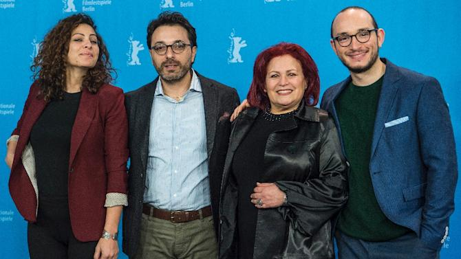(From left) Actress Rym Ben Messaoud, Tunisian director Mohammed Ben Attia, actress Sabah Bouzouita and actor Majd Mastoura pose during a photocall for the Tunisian film 'Hedi' during the Berlin Film Festival on February 12, 2016