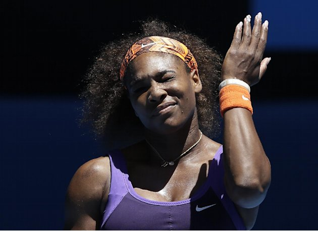 Serena Williams of the US reacts during her quarterfinal match against compatriot Sloane Stephens at the Australian Open tennis championship in Melbourne, Australia, Wednesday, Jan. 23, 2013. (AP Phot