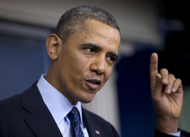 <p>               President Barack Obama gestures as he speaks to reporters in the White House briefing room in Washington, Friday, March 1, 2013, following a meeting with congressional leaders regarding the automatic spending cuts. (AP Photo/Carolyn Kaster)